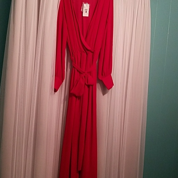 ba03e3acb68b FashionNova red chiffon jumpsuit